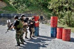 在训练的特别警察小分队 免版税库存图片