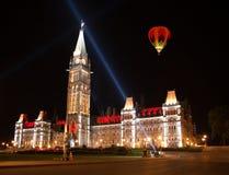 在议会加拿大议院的轻的展示  免版税库存照片