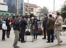 在议会选举前的选举竞选在2016年12月的马其顿 免版税库存照片