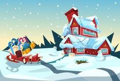 在议院圣诞节庆祝新年贺卡附近的圣诞老人雪橇 免版税库存照片