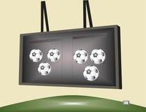 在记分牌的足球比赛 免版税库存照片