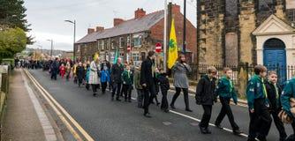 在记忆星期天的记忆游行2016年在雷克瑟姆威尔士 免版税库存照片