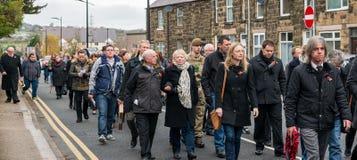 在记忆星期天的记忆游行2016年在雷克瑟姆威尔士 免版税图库摄影