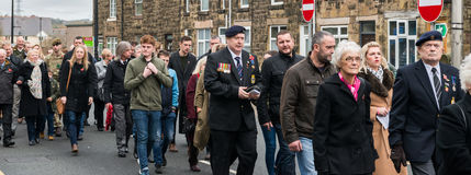 在记忆星期天的记忆游行2016年在雷克瑟姆威尔士 库存图片
