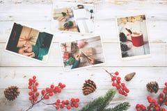 在记忆的象册和乡情在圣诞节冬天在木桌上晒干 免版税图库摄影
