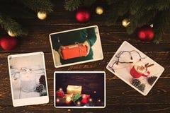 在记忆的象册和乡情在圣诞节冬天在木桌上晒干 免版税库存照片