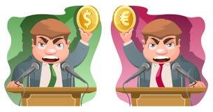 在讲台的报告人举行美元标志和一个欧洲标志 免版税库存图片