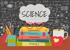 在讲话的科学在科学书,笔箱子,苹果上起泡,并且有科学的杯子在黑板背景乱画 免版税库存图片
