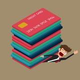 在许多信用卡下的商人 债务概念 库存照片