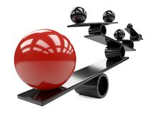 在许多大红色和smaal黑球形之间的平衡-概念 皇族释放例证
