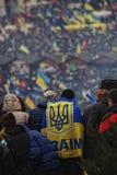 在许多显示的乌克兰旗子 库存图片