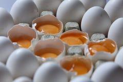 在许多白鸡蛋中的卵黄质 免版税库存照片