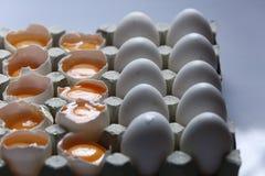 在许多白鸡蛋中的卵黄质 库存图片