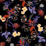 在许多的开花和柔和的传染媒介夜花卉样式种类 库存例证