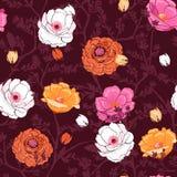 在许多的时髦开花的花卉样式种类花 胸部丰满 库存例证