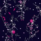 在许多的美好的时髦花卉样式种类花 胸部丰满 库存例证