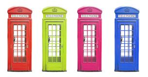 在许多颜色的传统伦敦电话客舱 免版税库存图片
