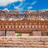 在论坛Romanum -罗马的被保存的罗马灰泥墙壁 库存照片