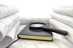 在设计图的书 免版税库存图片