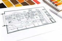 在设计师书桌上的设计观念 免版税库存照片