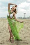 在设计比基尼泳装的性感的模型和包括摆在海滩 库存照片