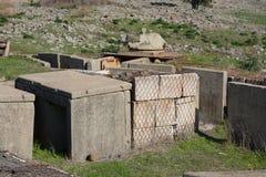 在设防的老塔楼在bor的戈兰高地 库存照片
