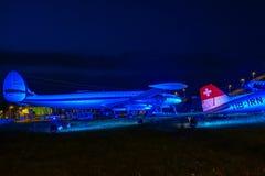在访客公园的历史的航空器慕尼黑机场的 免版税库存图片