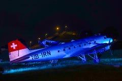 在访客公园的历史的航空器慕尼黑机场的 图库摄影