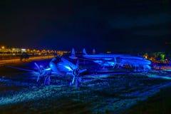 在访客公园的历史的航空器慕尼黑机场的 库存照片