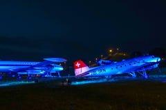 在访客公园的历史的航空器慕尼黑机场的 免版税库存照片