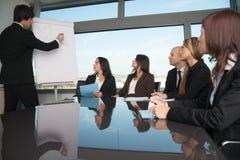 介绍在证券交易经纪人行情室 库存照片