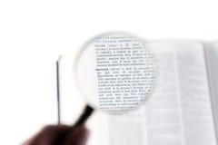 在词成功的一个放大镜 免版税库存图片