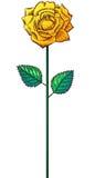在词根的一朵黄色玫瑰 免版税图库摄影