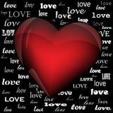 在词爱的背景的心脏 免版税库存照片