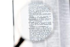 在成功的词的一个放大镜 免版税库存图片