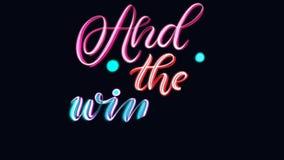 在词组和优胜者的录影动画上写字是 库存例证