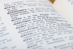 在词Dictonary的法语字典 免版税库存照片