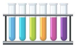 在试管的五颜六色的化学制品 皇族释放例证