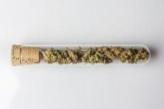 在试管的医疗大麻在白色从上面 库存图片