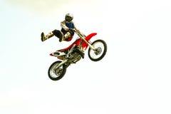 在试验展示的极端自行车跃迁 免版税库存图片