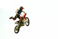 在试验展示的自行车天空跃迁 免版税库存照片