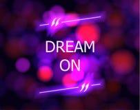 在诱导海报、五颜六色的被弄脏的背景和霓虹行情箱子的传染媒介梦想 库存例证