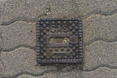 在说的街道上的表面箱子`气体` 免版税图库摄影