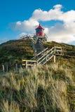 在诺尔多夫auf der Insel Amrum的Leuchtturm 免版税库存照片