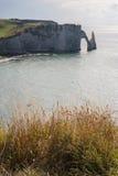 在诺曼底海岸的石曲拱在法国 免版税库存图片