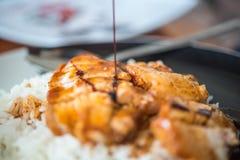 在调味汁的烤红色猪肉用米和黄瓜 免版税库存照片