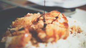 在调味汁的烤红色猪肉用米和黄瓜 免版税库存图片