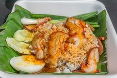 在调味汁的烤红色猪肉用米,中国式烤了猪肉 库存照片