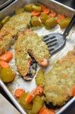 在调味汁的美味的被烘烤的鲑鱼排用红萝卜 免版税库存照片