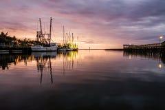 在谢姆小河的渔船 免版税图库摄影
